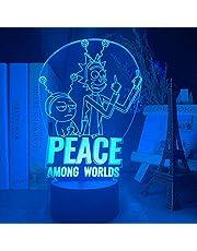 Lampa z iluzją 3D LED lampka nocna Rick and Morty Peace wśród światów figurka fajna Rick & Morty szopka prezent dla dzieci 16 kolorów