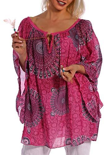Tunika Bluse dreiviertelarm im Ethno Graphic Style Oversize (Pink, One Size)