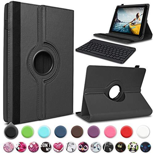UC-Express Tablet hoes compatibel met Medion Lifetab P10612 tas toetsenbord beschermhoes Bluetooth Case Cover 360 draaibaar toetsenbord, zwart