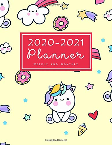 2020-2021 Weekly & Monthly Planner: 2 Year Calendar Schedule, Squares Quad Ruled, Dot Notes, Monthly Goals Setting, Action Plan, No Holiday Unicorn Yellow Kawaii (January 2020 through December 2021)