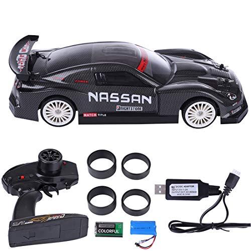 HMANE 1/14 2.4G 4WD RC Racing Car Remote Control 20KM/H High-Speed Vehicle RC Drift Car Toy - (Carbon Fiber Black)