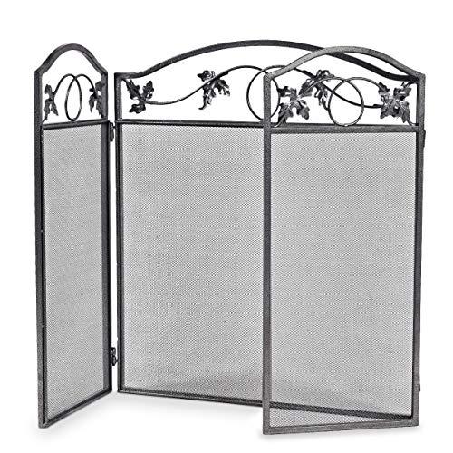 Casart - Parascintille pieghevole a 3 pannelli, per interni ed esterni, con motivo a foglie, per bambini e animali domestici