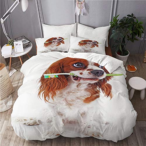 GugeABC Bettwäsche Set,Mikrofaser,Hund mit Zahnbürste,1 Bettbezug 220x240 + 2 Kopfkissenbezug