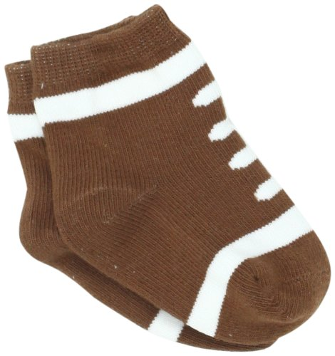 Mud Pie Boys' Newborn Baby Football Socks, Brown/White, 0-12 Months