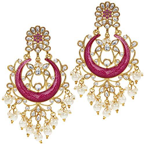 Aheli Pendiente de estilo indio, tradicional chandbali, étnico, festivo, bollywood, joyería de boda para mujer