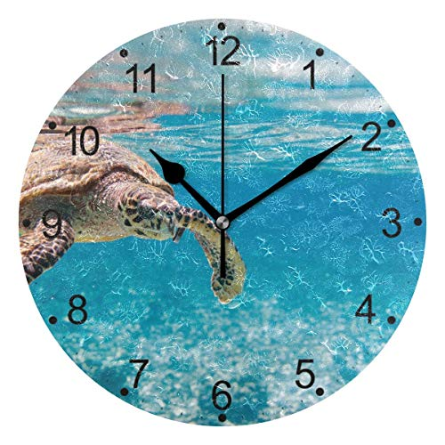 Promini Decorative Home Office Silent Non-Ticking Wooden Wall Clock 12 Inch Hawksbill Sea Turtle Wall Clock Round Clock For Living Room Office