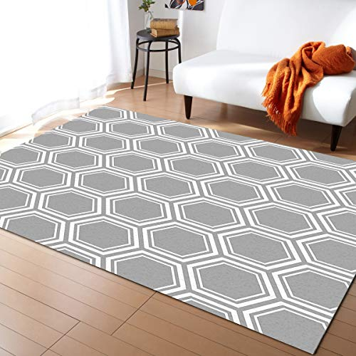 Grey White Soft Area Rug for Bedroom Living Room, Indoor Home Decorative, Non-Slip Comfy Rugs for Dorm Nursery Kids Room 2' x 3' Modern Geometric Hexagon