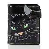 Shagwear Junge-Damen Geldbörse, Small Purse: Verschiedene Farben und Designs: (Katzengesicht grüne Augen Schwarz/Cat's Face Green Eyes)