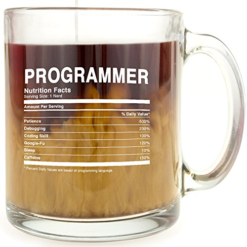 Programmer Nutrition Facts - Glass Coffee Mug - Makes a Great Gift For IT Support And Software Programmers Under $15!