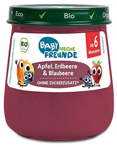 FRECHE FREUNDE Bio Gläschen Apfel, Erdbeere & Blaubeere, für Babys ab 6 Monaten, ohne Zucker- und Salzzusatz, vegan, 6er Pack (6x120g)