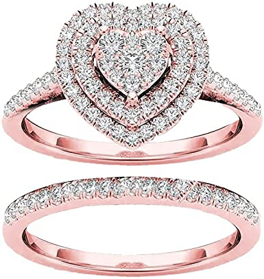 2Pcs/1Set Heart Rhinestone Rings for Women, Stackable Full Diamond Love Shaped Ring Fashion Hollow Carving Diamond Ring with Crystal