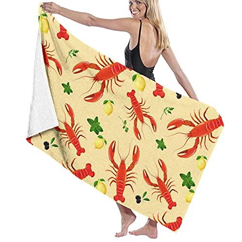 Toallas de Playa Langosta Roja y Limón Toalla de Piscina Esterilla de Yoga Seque Rápidamente Absorbente Prevención de Arena para Viaje 80*130 cm