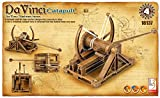Catapult designed by Leonardo da Vinci Powered operation provided by a rubber band/actually works Snap together - no glue or tools required Historically accurate and educational No painting required