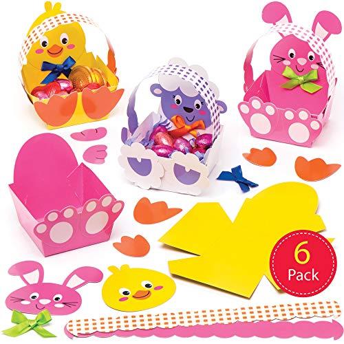 Baker Ross knutselsets voor paaskandjes met paasmotieven (6 stuks) – knutselidee voor Pasen voor kinderen om te versieren en voor het zoeken naar paasfeesten