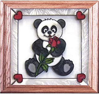 Panda Bear And Rose Painted/Stained Glass Panel Stained Glass Panel Q-014