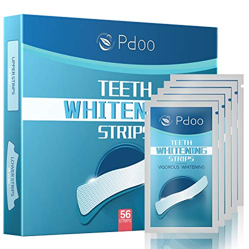 Pdoo Teeth Whitening Strips with 56 Strips Remove Years of Stains -Best 3D Dental Whitening Gel Strips -Painless,No Sensitivity,Travel Friendly Tooth Whitener Products