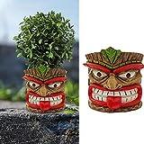 Tiki Planter Tiki Flower Pots, Home Garden Whimsical Plant Pot, Tiki Garden Statue Easter Island Planter, Ceative Home Office Decor Gifts, 4.72x4.92x4.33inch