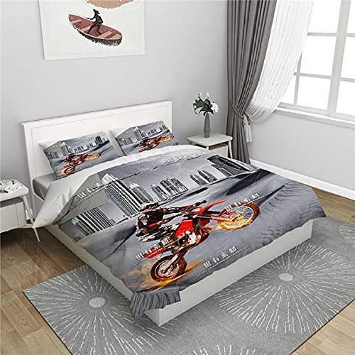 LHSJT Funda Nórdica 3D Arte de la Motocicleta 150x200cm Moda con Fundas de Almohada Juego de Funda de Cama Nórdica Juego de con Cremallera 100% Microfibra de Poliéster