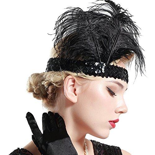 Babeyond® 1920s Stil Stirnband mit schwarzer und weißer Feder Inspiriert von Der Große Gatsby Accessoires für Damen Freie Größe (enthält zwei Stirnbänder) - 3