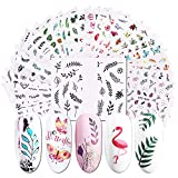 Nail Stickers Decals for Nail Art - Flamingo Decor Butterfly Designer Nail Stickers for Acrylic Nails Water Transfer Leaf Flower Designs Decorations for Women Nail Tattoos for Gel Polish - 29 Sheets
