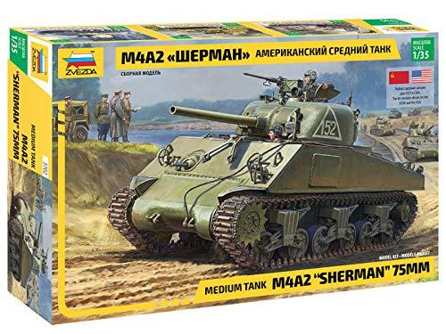 Zvezda 530003702 1:35 M4A2 Sherman (75mm) Medium US WWII, Modellbausatz,Plastikbausatz, Bausatz zum Zusammenbauen, detaillierte Nachbildung