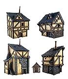 War World Gaming Fantasy Village - Set de 4 Casas - 28mm Wargaming Medieval Miniaturas Maquetas...