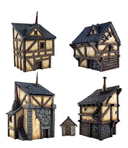 War World Gaming Fantasy Village - Set de 4 Casas - 28mm Wargaming Medieval Miniaturas Maquetas Dioramas Edificios Wargames Guerra Aldea Edad Media