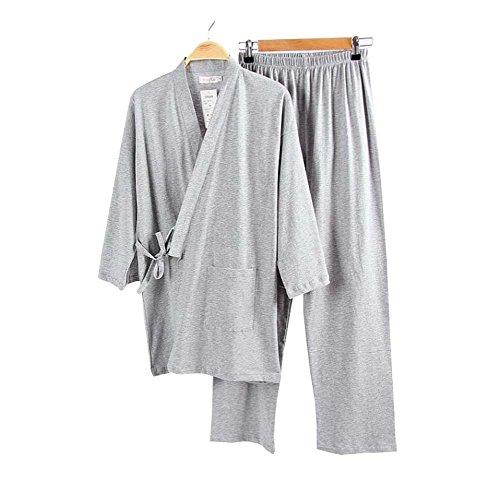 Juego de pijamas y albornoces Kimono Robe and Pant para hombre (Thin) - Gris