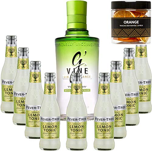Paquete Gintonic - G'Vine 9 del árbol de fiebre siciliana limón Agua - (70cl 20cl + 9 *) + Pot 20 rebanadas de naranja deshidratada