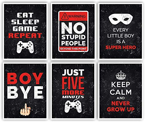 Posters for boys room - 11x14 inches set of 6 gaming decor - funny gamer gifts [unframed] - shipped flat poster paper
