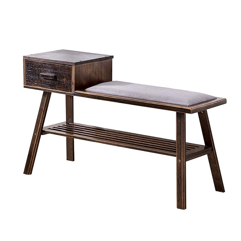 引数承認する相手PingFanMi 引出し及び棚が付いている携帯用2層のタケ板の靴の棚の棚、狭い縦のドレッサーの貯蔵の棚、丈夫なフレーム、寝室のための木製の上オーガナイザーの単位 (Color : B, Size : 90*28*42cm)
