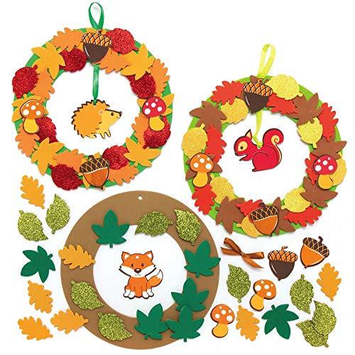 Baker Ross AX281 Herbst Kränze Bastelset für Kinder - 3 Stück, Kreativsets und Bastelbedarf für Kinder zum Dekorieren in der Herbstzeit