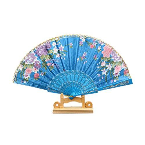 ESYN plastica / tessuto a mano modello pieghevole Fan Fiore (2pcs Electric Blue)