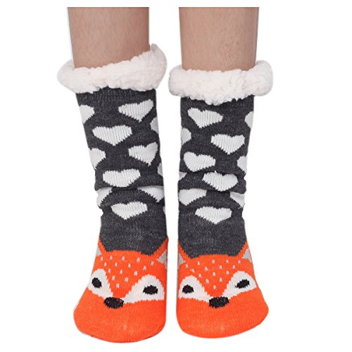 Houda Warme und weiche Damen-Socken mit Cartoon-Tiermotiven, kuschelig, rutschfest, für den Winter, für drinnen und draußen, Einheitsgröße Gr. One size, 02 Fuchs