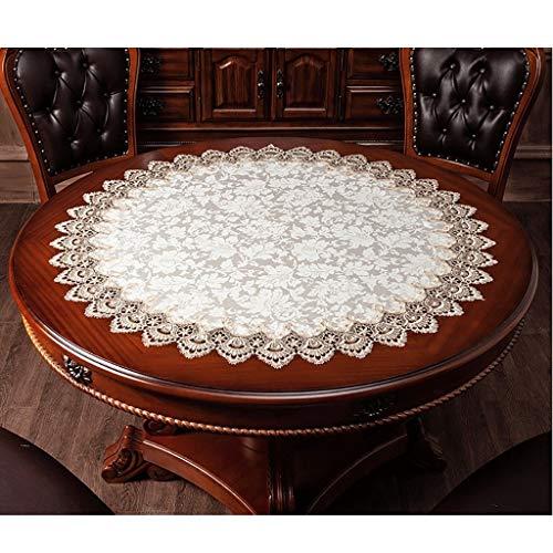 Weiße Spitzentischdecke für Tische, Häkelspitze, Tischdecken für Küche, Hochzeit, Party, Dekoration, ca. 80 cm Durchmesser