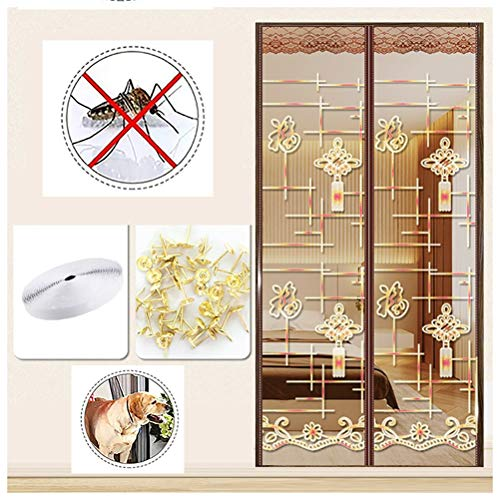 Magnetische horren voor Door Screen Mesh Black Curtain Fits voor Door, Summer Ventilation Blijf weg van muggen Insecten Fly Screen Mesh Curtain Fits Door Up,Gold,80 * 210cm
