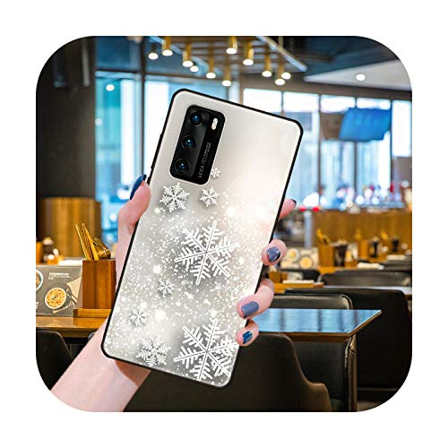 Funda para Huawei P40 P30 P10 P20 Lite P Smart Z Pro Negro Cubierta Coque Moda Impermeable Silicona Shell Lujo Snowflake-H5-Huawei P Smart