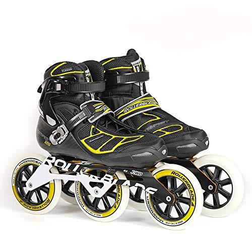 YONGMEI Schlittschuhe - Schlittschuhe importiert Inline Skates Kohlefaser Eisschnelllauf Rennen Rollschuhe Sport im Freien (Farbe : SCHWARZ, größe : L)