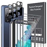 LK 6 Pack,Compatible con Samsung Galaxy S20 Fe Protector de Pantalla,3 Pack Cristal Templado y 3 Pack Negro Protector de Lente de cámara, Doble protección, Kit de Instalación Incluido