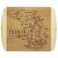 Savor a slice of The Great Lakes State with this beautiful bamboo serving and cutting board with artwork inspired by the cities, places and people of Michigan. Fun, whimsical laser-engraved artwork calls out all the wonderful sights and places in the...