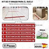 CUAC REVOLUTION Kit 5 Pegatinas Vinilo Suelo Antideslizante Distancia Seguridad (600x53mm) Regalo DE UNA MASCARILLA HIGIENICA por Cada Compra