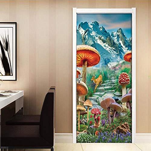 3D Türaufkleber PVC Selbstklebende Wasserdichte Pilzkitz Abnehmbare Art Decals TürPoster für Wandbild Wohnzimmer Schlafzimmer Badezimmer Dekoration 77x200 cm
