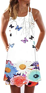 Womens Sling Off-Shoulder Flower Print Tank Top Dress Sleeveless Mini A-Line Beach Sundress
