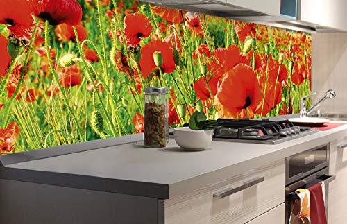 DIMEX LINE Küchenrückwand Folie selbstklebend ROTE Mohnblumen | Klebefolie - Dekofolie - Spritzschutz für Küche | Premium QUALITÄT - Made in EU | 180 cm x 60 cm