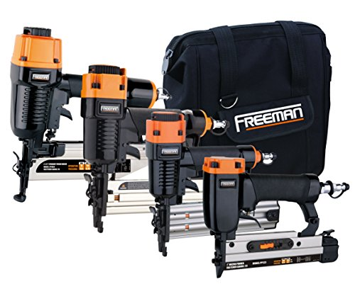 Freeman P4FNCB Pneumatic Finishing Stapler and Nailer 4-Piece Combo Kit with Canvas Bag and Fasteners