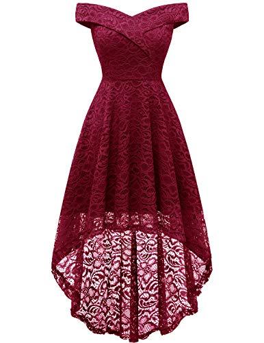 HomRain Elegant Abendkleider Cocktailkleider Damenkleider aus Spitzen Knielange Rockabilly Schulterfrei Ballkleid Dark Red 2XL