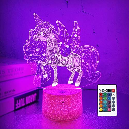 Lámpara unicornio 3d, CooPark hada niña LED Óptico Holograma Luz de noche 16 colores cambian con control remoto, decoración de la habitación de los niños Regalos creativos para niños niñas