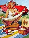 Vintage Alpha Romeo Pin Up Girl Metal Sign Classic Car Garage Decor Aluminum Metal Signs Tin Plaques...