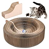 Cat Scratcher Saln Plegable cartn Scratcher Juguete con Tinkle Ball y Catnip porttil de Alta Densidad Reciclado de Gatos Corrugado Kit de rascar Gatos Turbo Juguetes