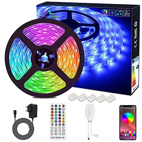 Bluetooth LED Streifen, ALED LIGHT 5050 Wasserdichtes 16.4Ft 5M LED Stripes Licht Smart-Telefon Kontrolliertes RGB Lichtschläuche LED Lichtband 12V für Haus, Garten,...